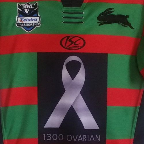 South Sydney Rabbitohs 2011 Ovarian Cancer jersey- Chris Mcqueen signed