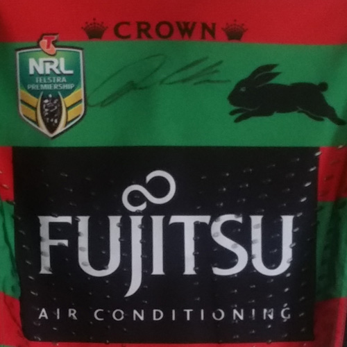 South Sydney Rabbitohs 2015 Fujitsu Home jersey- Dylan Walker signed