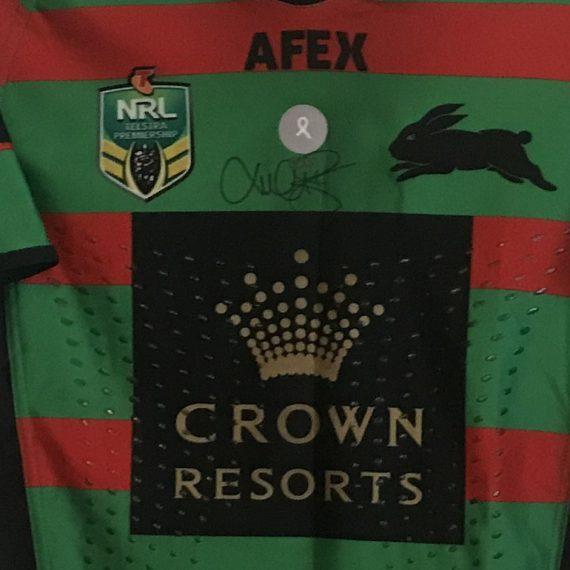 South Sydney Rabbitohs 2014 OCRF Luke Burgess match worn jersey