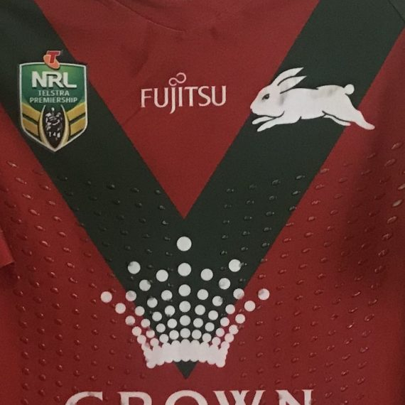 South Sydney Rabbitohs 2018 Match Worn Jersey Alternate vs Canberra Tom Burgess