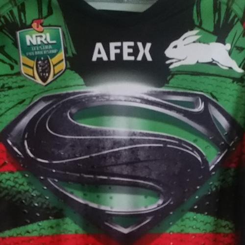 South Sydney Rabbitohs 2014 Superman jersey – Alex Johnston