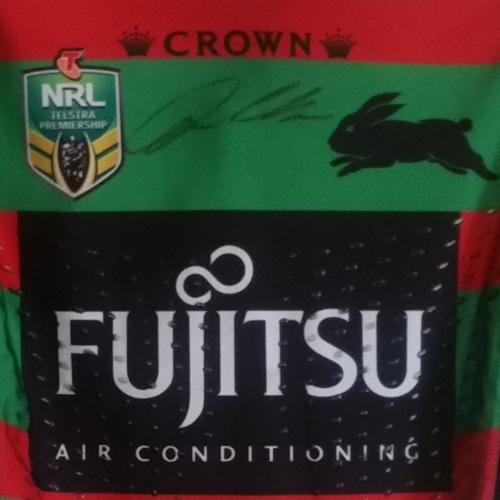 South Sydney Rabbitohs 2015 Fujitsu Home jersey- Dylan Walker signed