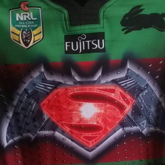 South Sydney Rabbitohs 2016 Superman vs Batman jersey Cameron Mcinnes
