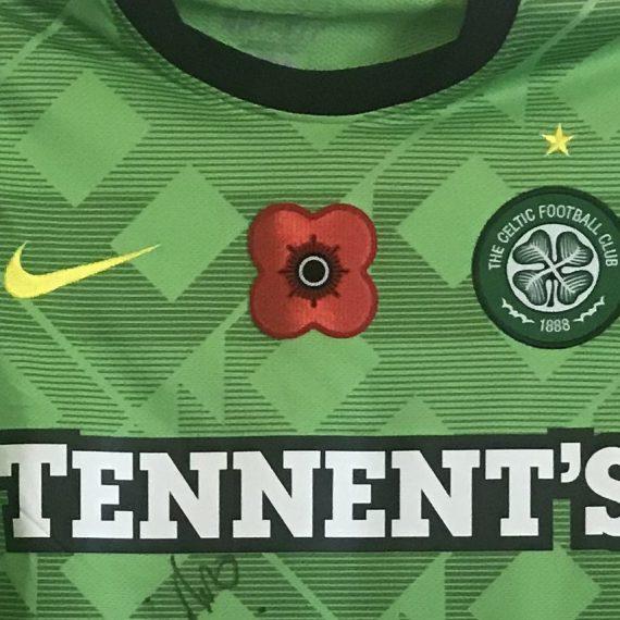 Celtic FC SPL Emilio Izaguirre Match Worn Poppy Shirt