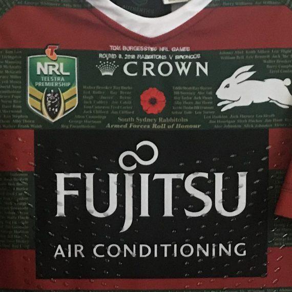 South Sydney Rabbitohs 2018 Match Worn ANZAC Jersey Tom Burgess 100th NRL Match